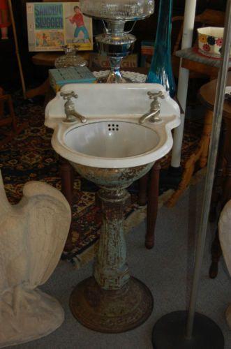 antique cast iron petite pedestal sink