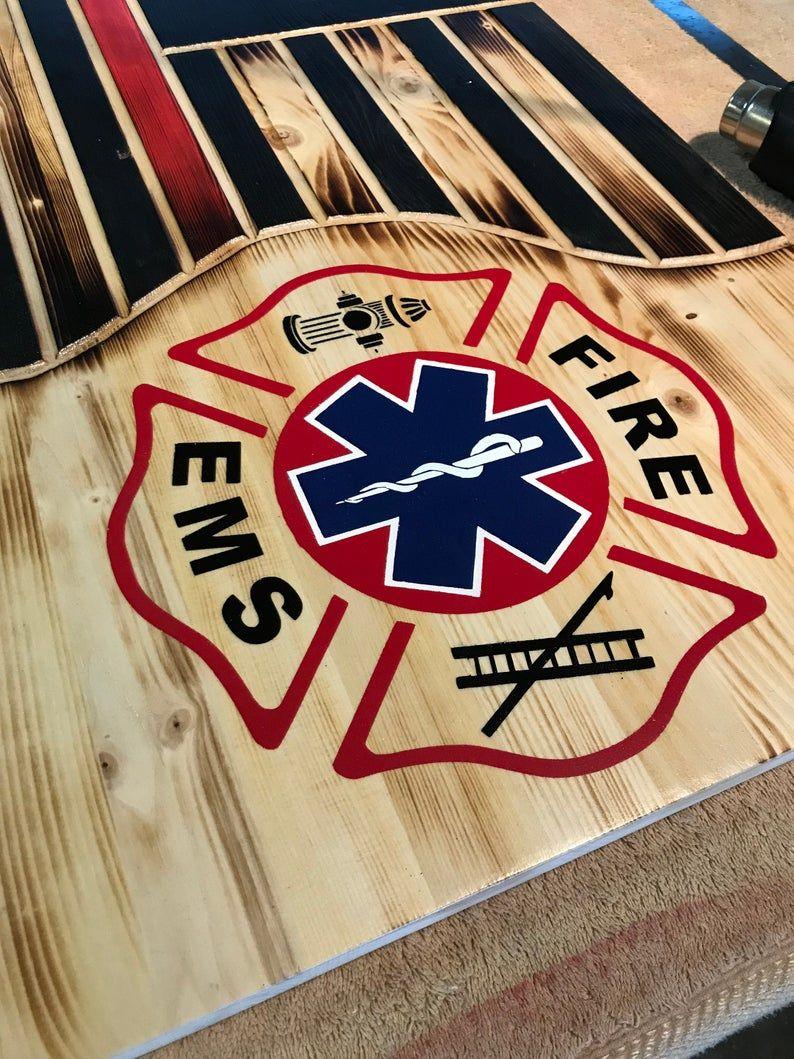 Firefighter/paramedic flag wood flag home decor custom