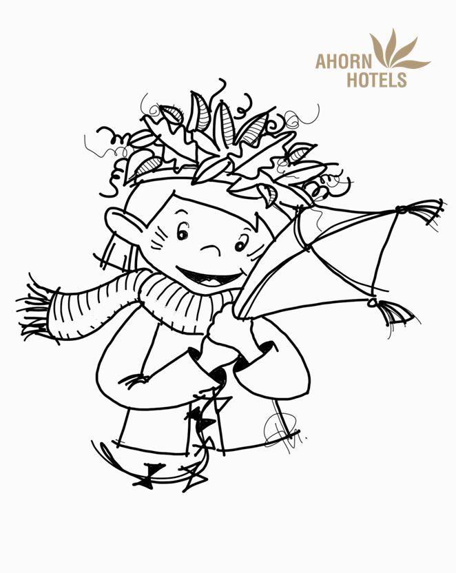 YOKI AHORN Ausmalbild für den Herbst. Mit Drachen und (bald) bunter ...