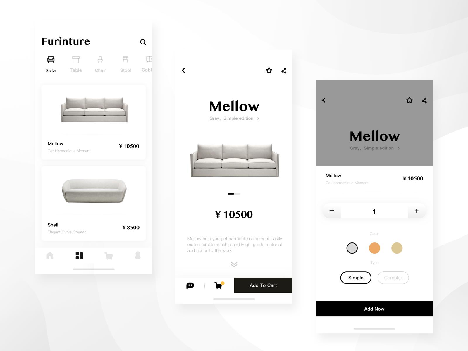 Furniture shopping page | Mobile // UI Design | Mobile shop, Mobile