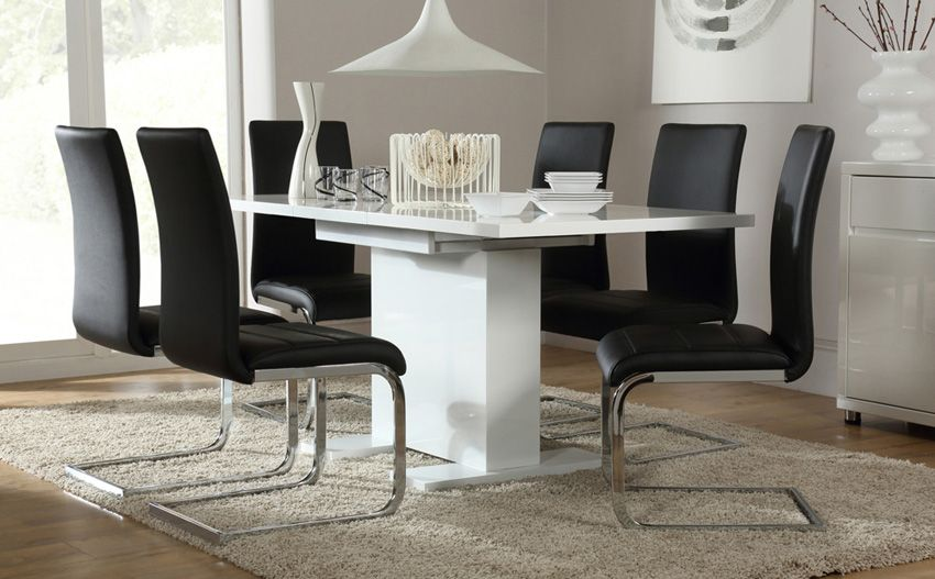 Osaka White High Gloss Extending Dining Table With 6 Perth Black