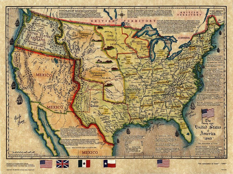 Map Of Us 1845 Texas Historical map   U.S. Map 1845 | Historical maps, Map, Old maps