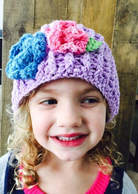 Headband- Ear Warmer - Purple Ear Warmer-Purple Hat with Flowers ...