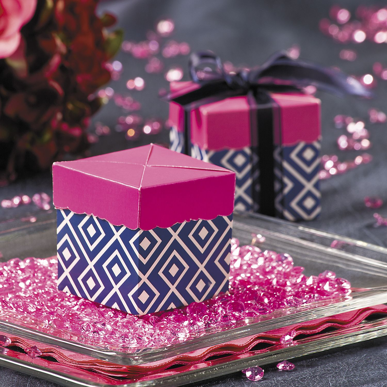 Navy & Hot Pink Pop Top Wedding Favor Boxes | Color: Navy and Pink ...