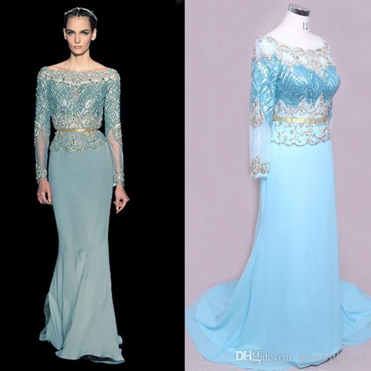 2015 Muslim Wedding Dresses Sheath Jewel Long Sleeve Beads Sequins ...