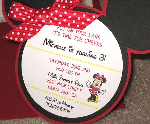 Minnie Mouse Invitation by PapercutInvites on Etsy