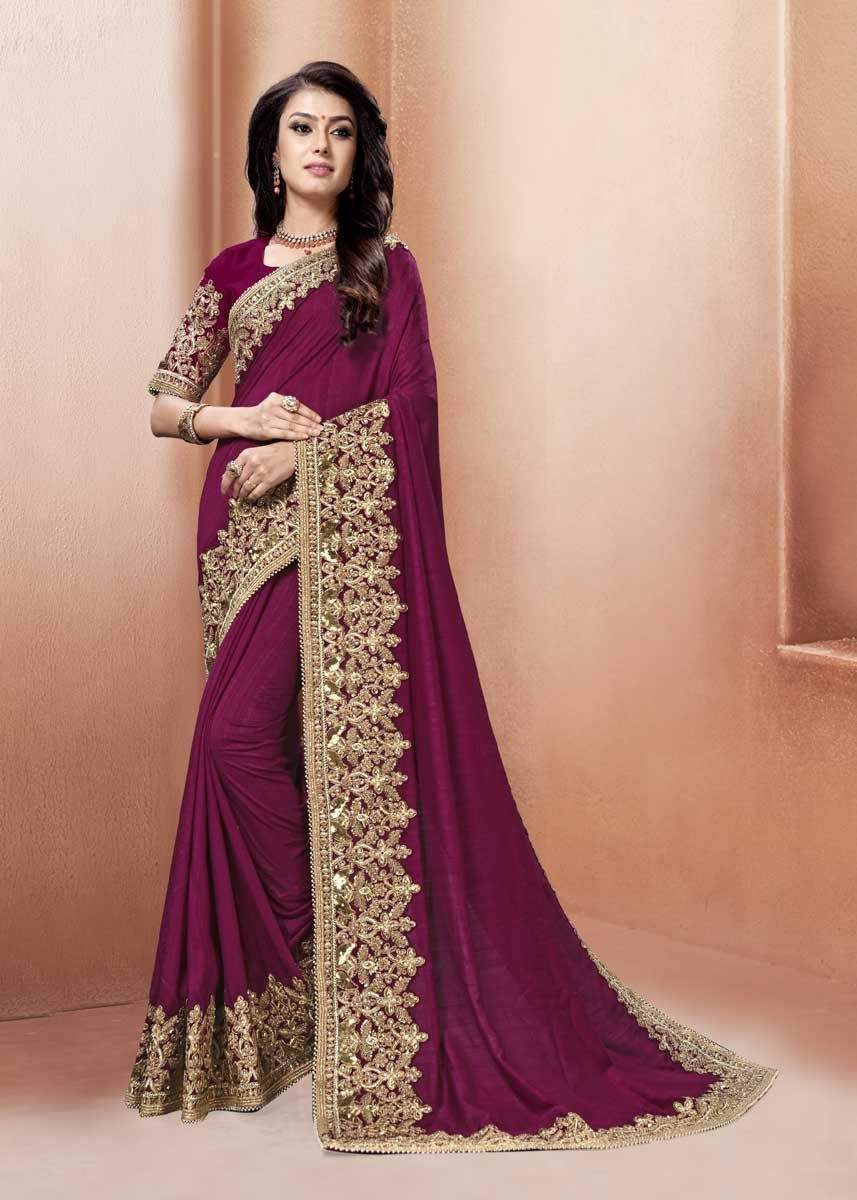 a15688cdc4323d Merge tradition and mordern fashion in this amazing purple color silk  fabric heavy embroidered wedding wear saree. Drape this saree at your  upcoming ethnic ...