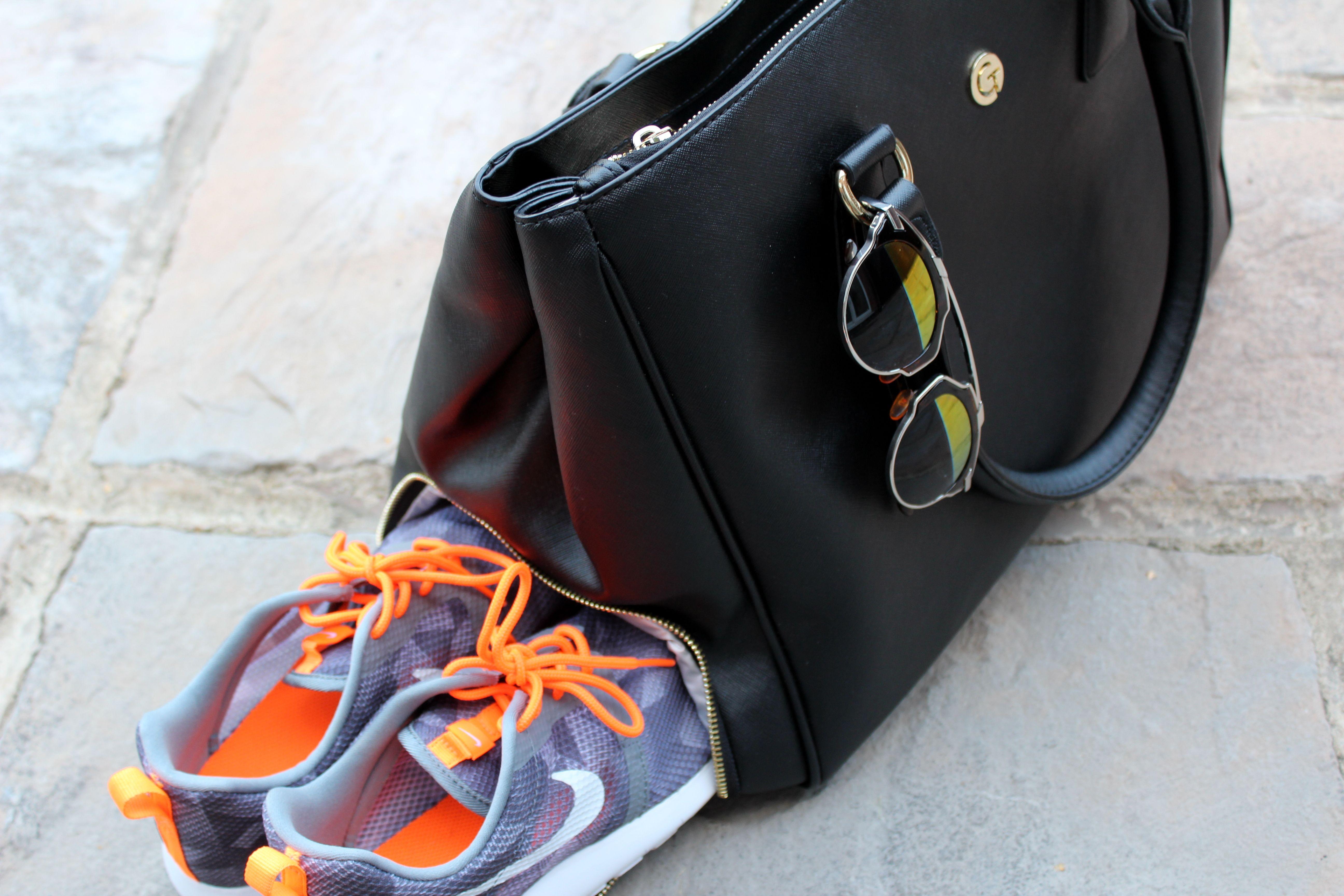 Sophia Tote Black | Stylish gym bags, Laptop bag for women