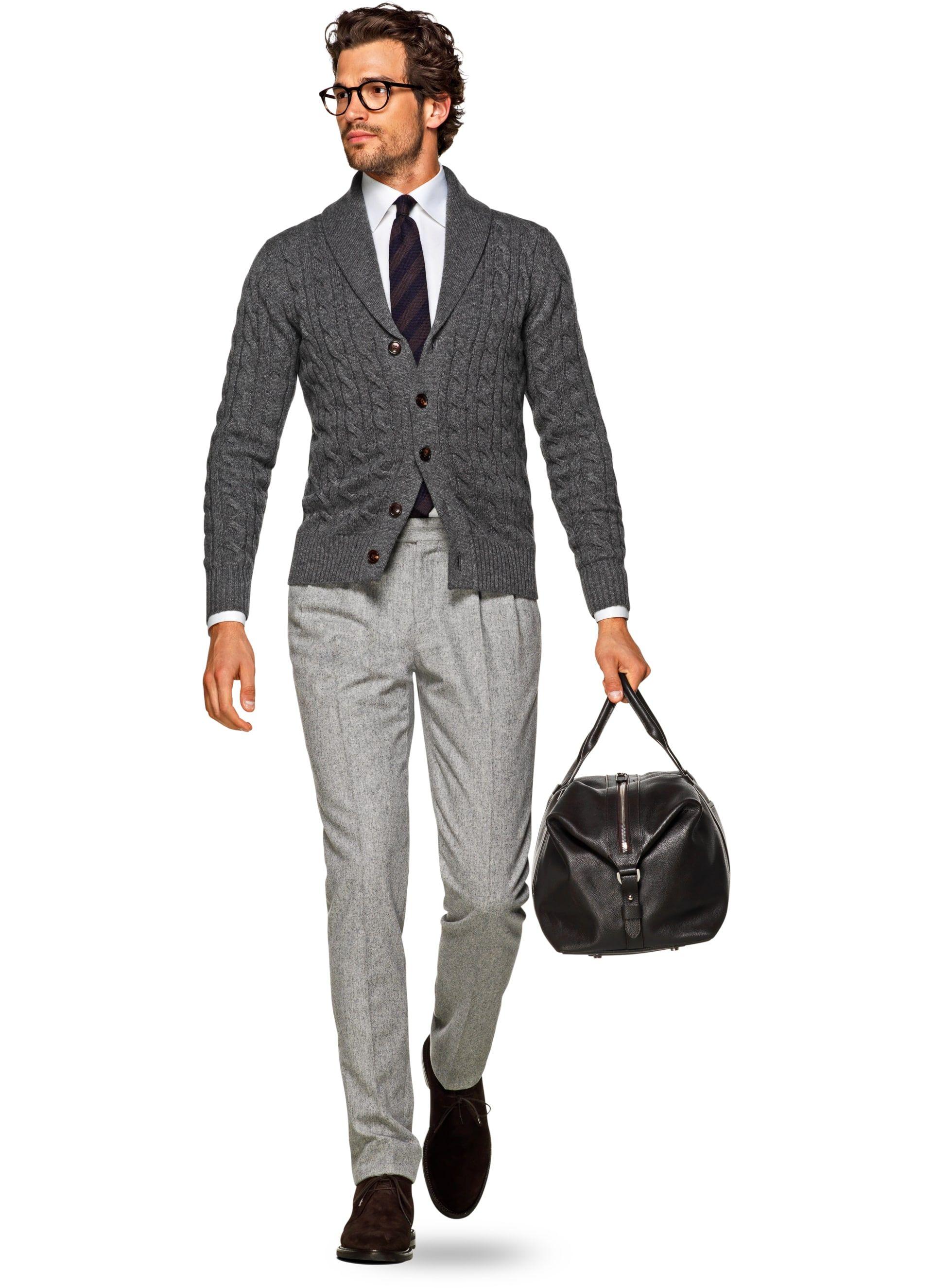 Wonderlijk Dark Grey Shawl Collar Cardigan Sw840   Suitsupply Online Store PN-54