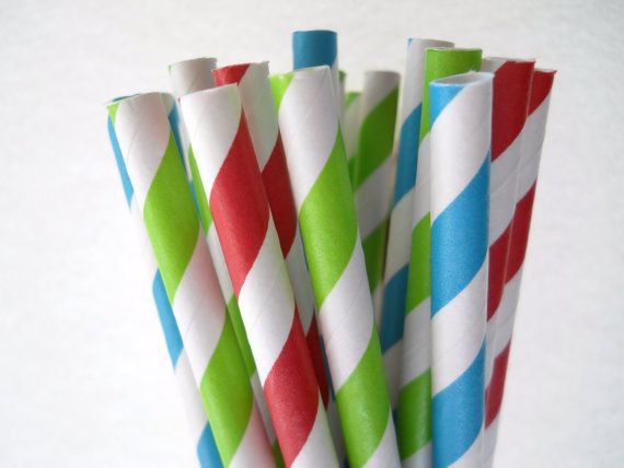 Hungry Caterpillar Party - Stripe Paper Straws - Paper Party Straws - QTY 25 - Sesame Street Party