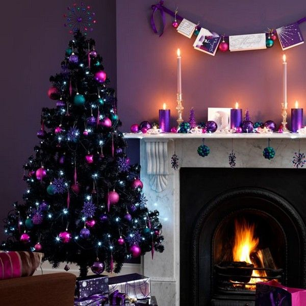 Weihnachtsdeko Lila.Kamin Lila Kerzen Weihnachtsdeko Idee Christmas Purple Christmas