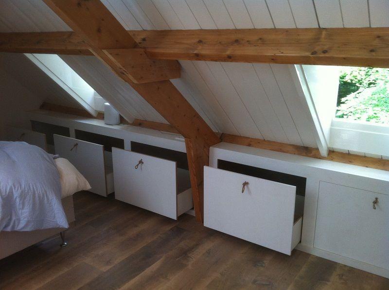 Kast onder schuin dak zelf maken google zoeken dakkapel kasten pinterest kast zolder en - Slaapkamer onder het dak ...