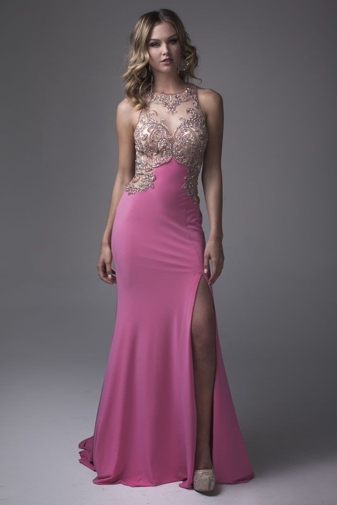 Black crystals highlight the romantic black lace over nude lining ...
