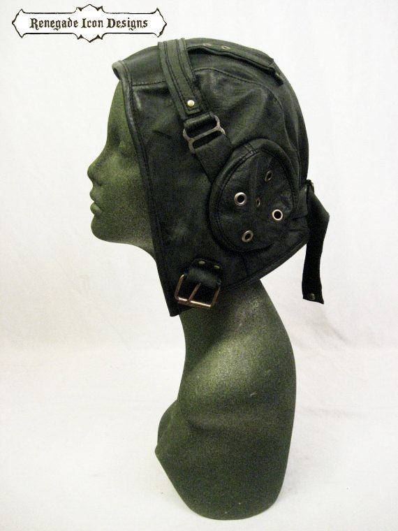 859a3509 aviator hat flight cap tank gir leather distressed by Renegadeicon, $128.00