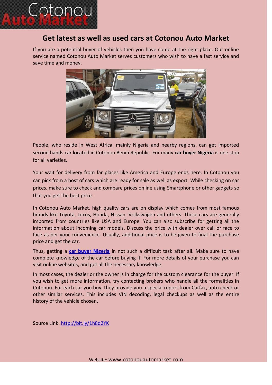 Get latest as well as used cars at Cotonou Auto Market