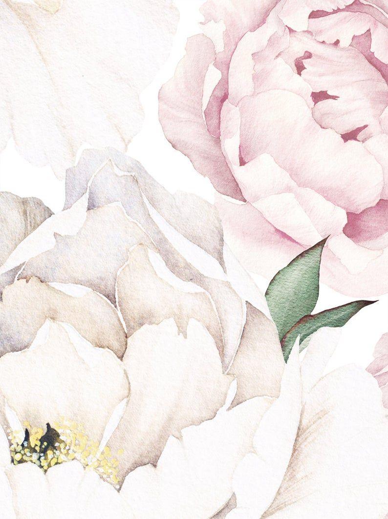 Peony Flower Mural Wallpaper Pink Watercolor Peony Extra Etsy In 2021 Flower Mural Wall Art Wallpaper Mural Wall Art