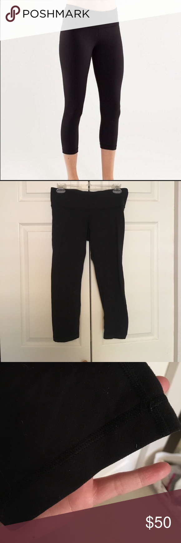 LuluLemon Cropped Wunder Under These pants go with everything- a lulu must have! These are in good condition, only thing is regular pilling in the crotch area (as shown in the pics). Other than that, no major signs of wear: no rips, tears, stains, or loose threads! lululemon athletica Pants Ankle & Cropped