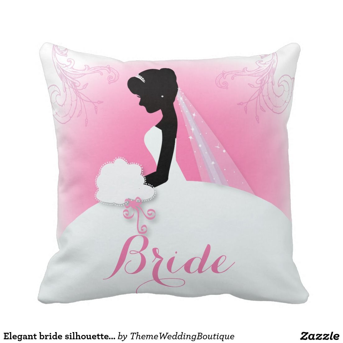 Bridal Mrs Right Pink bride silhouette Throw Pillow   Ring Bearer ...