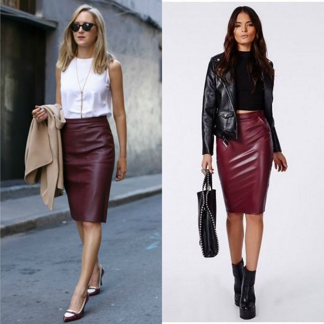 40 leather pencil skirt