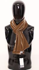 NWT $220 DOLCE & GABBANA D&G Brown Gold Solid Cotton Scarf Wrap 180 cm x 20 cm
