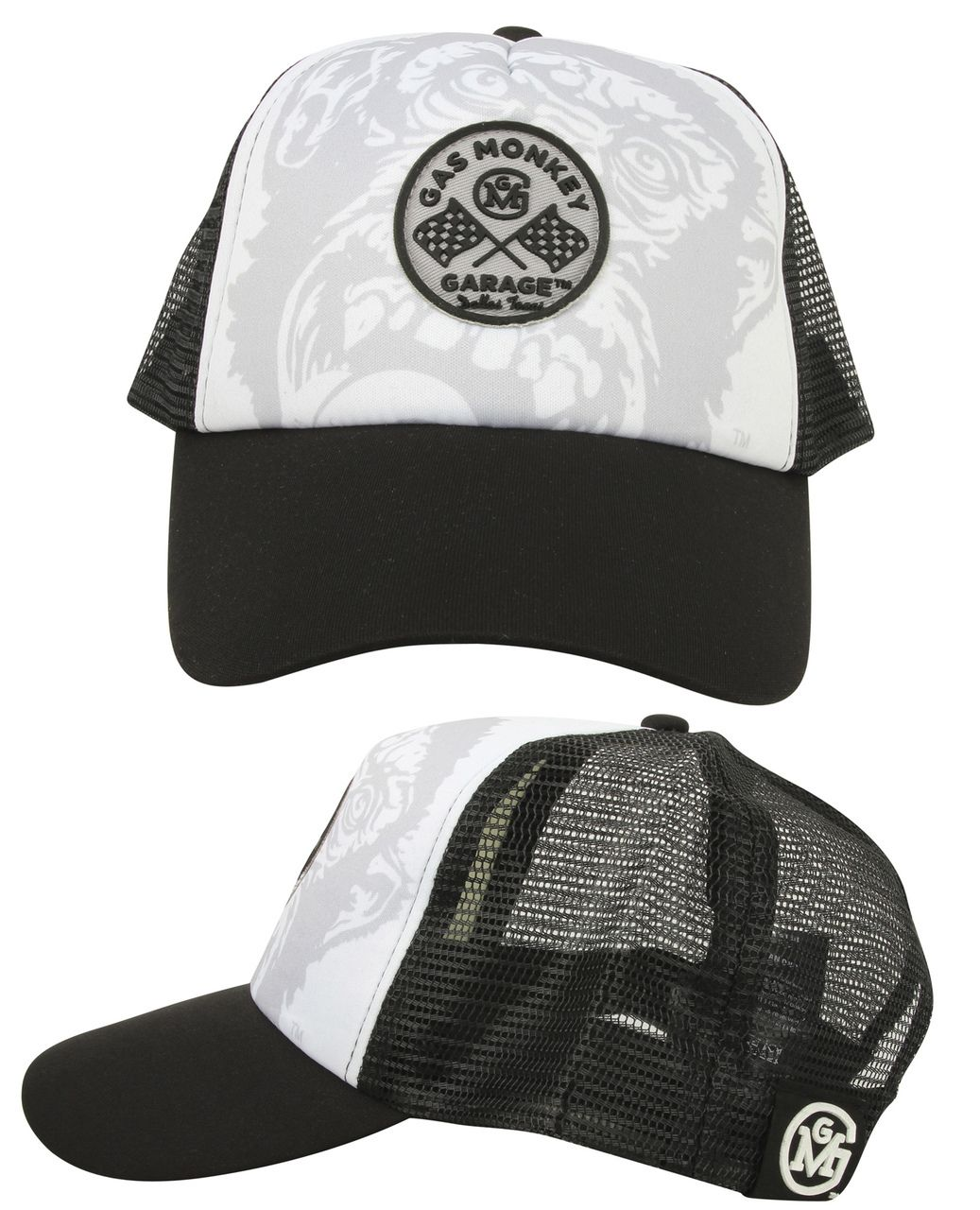 8f756ec850c2b Circle Logo GMG Trucker Hat made up of black mesh back and sides with white  front