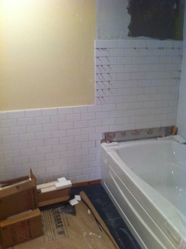 wainscoting bathroom tile subway tile transition from wall wainscot to tub cut 14987