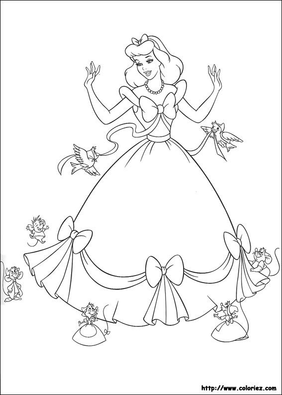 Coloriage 1 Dessin Cendrillon Enfant Cinderella Coloring Pages