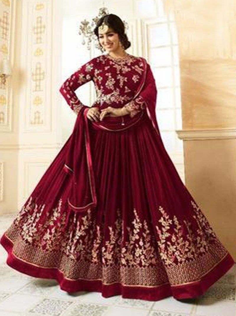 9aa5d1a69f3 Maroon Color Indian ethnic Wedding Bridal Bollywood Anarkali Suit ...