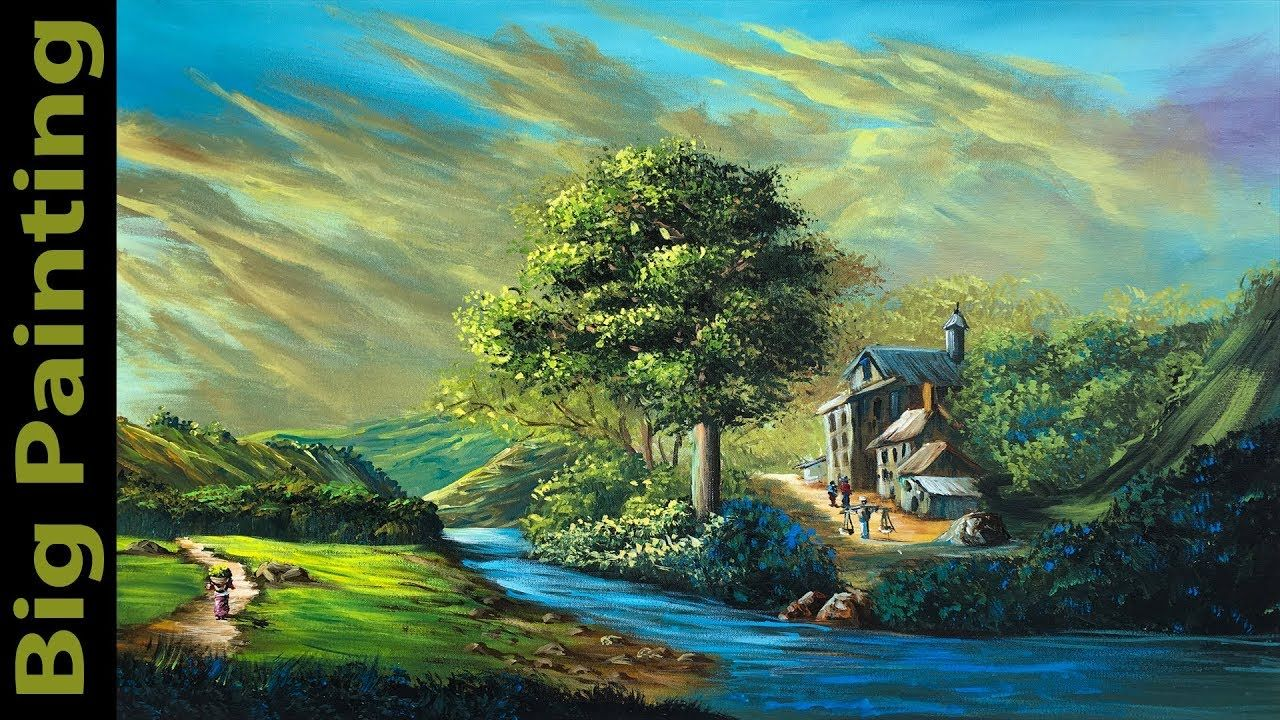 How To Paint A Realistic Landscape Painting Acrylic Painting Tutorial Landscape Paintings Landscape Paintings Acrylic Easy Landscape Paintings