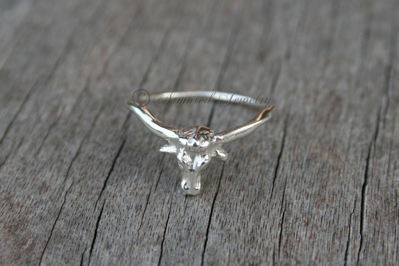 Longhorn Ring, Sterling Silver, Texas Longhorns, Steer