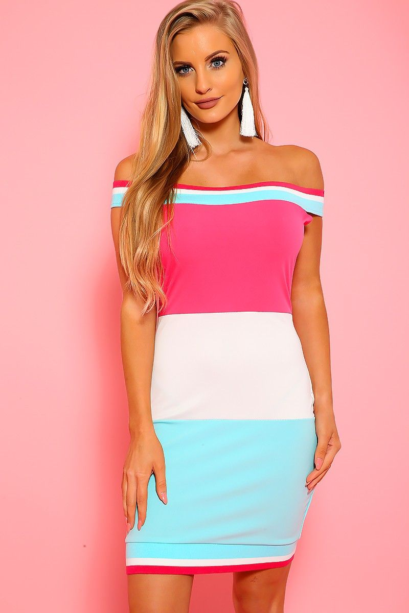 d0848bcd0969 Sexy Neon Pink White Color Block Off The Shoulder Bodycon Party ...