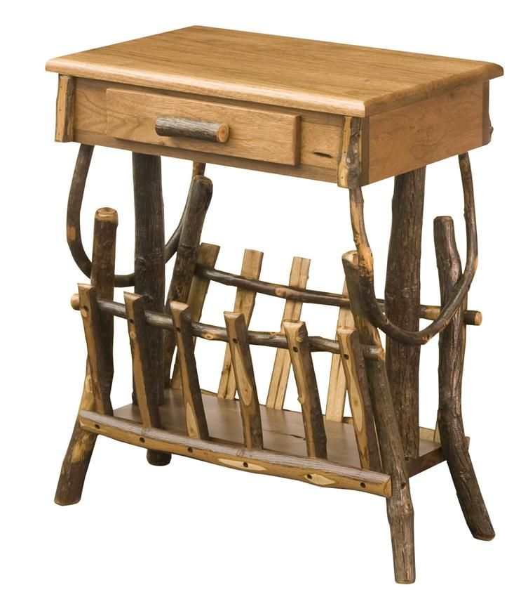 Awesome Amish Rustic Hickory Magazine Rack End Table