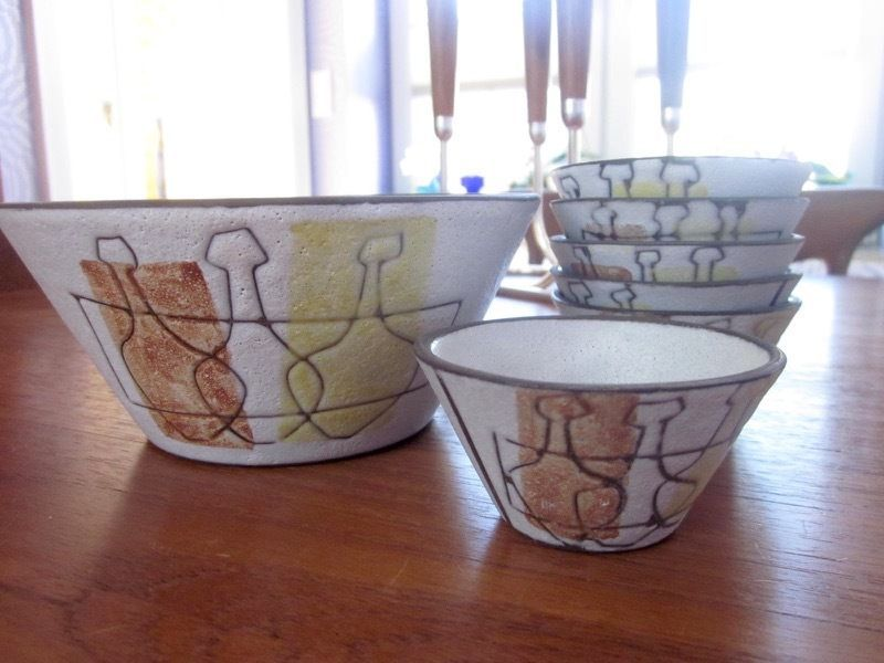 Dutch set of ceramic bowls Potterie de Groenekan 50s 60s mid-century Netherlands