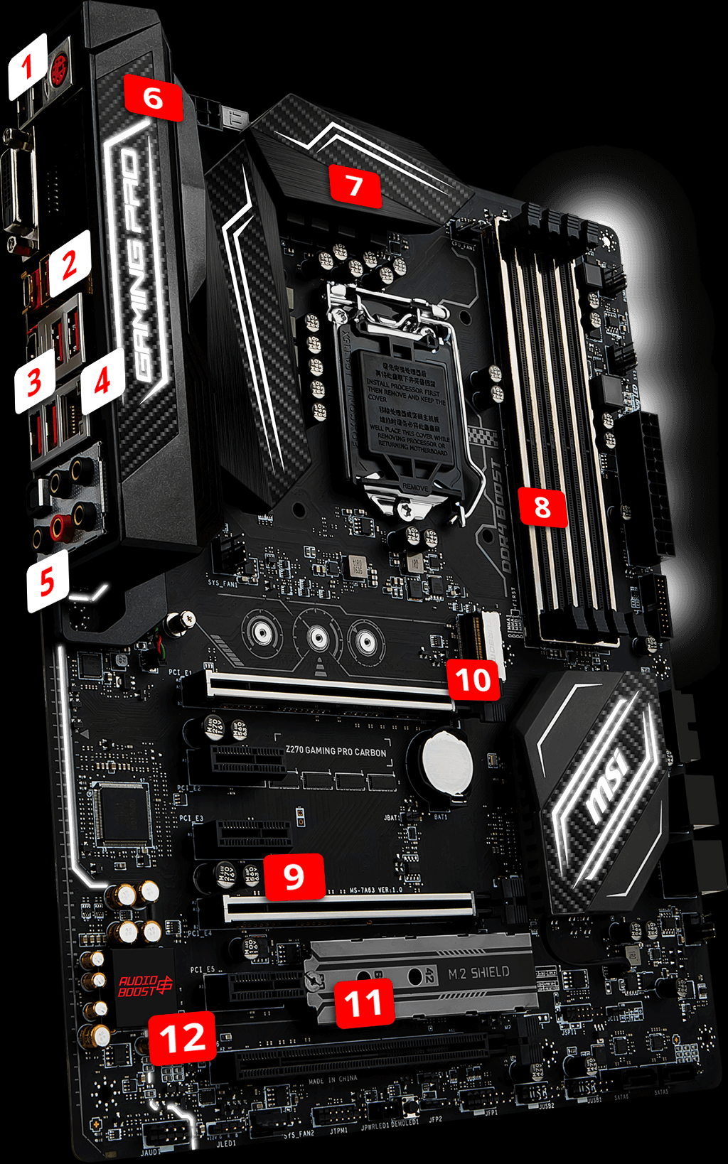 Msi Z270 Gaming Pro Carbon Motherboard Supports 7th Intel Kaby Lake Processors Ddr4 3866 Memory With Intel Z270 Chipset To Provide The Best Vi Nadpisi Raznoe