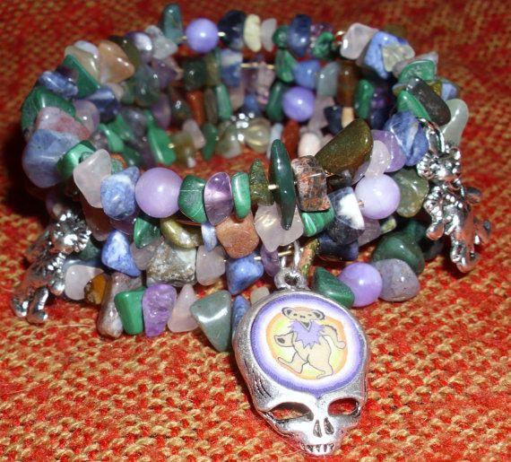 Grateful Dead Inspired memory wire bracelet gemstone by HempHugs, $25.00