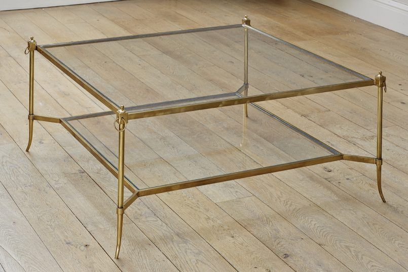 Coffee Table Splayed Leg Square Coffee Table Brass Glass Patinated