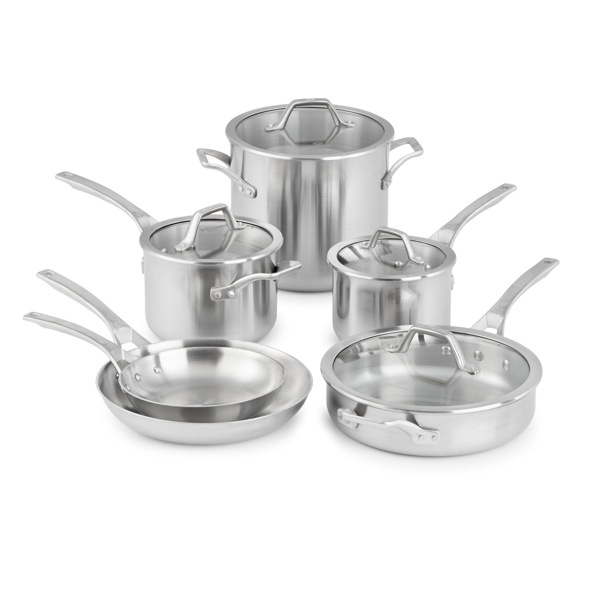 Calphalon signature stainless steel 10pc cookware set