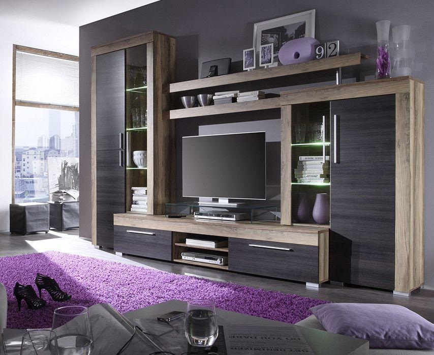 ensemble meuble tv coloris chene noyer