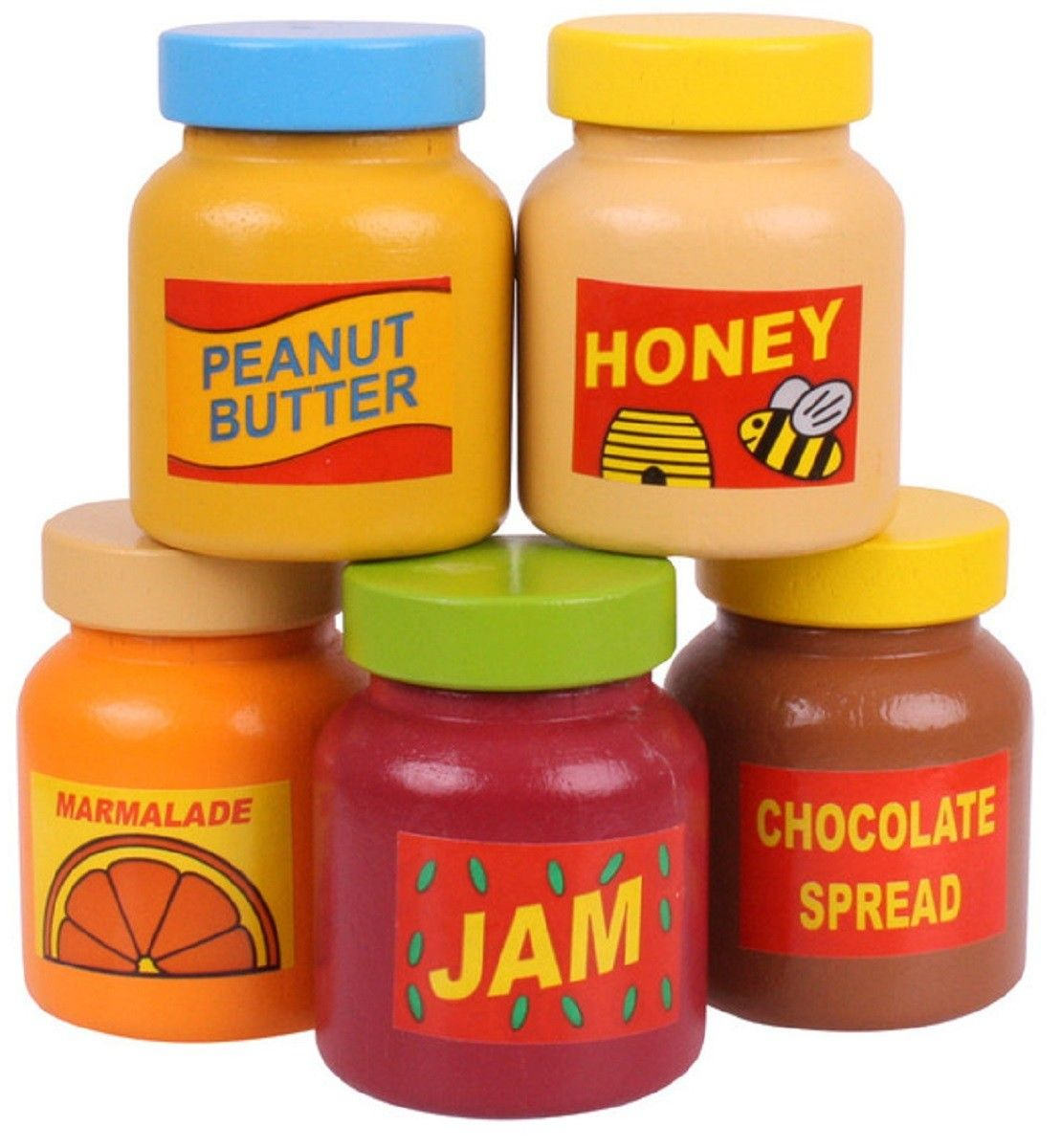 5 x wooden jars of jam preserves wooden play food