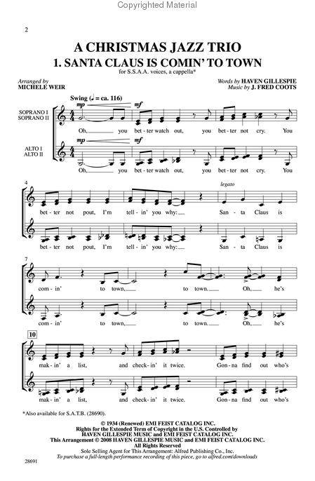 Santa Claus is comin' to town | Christmas lyrics, Music notes, Piano music