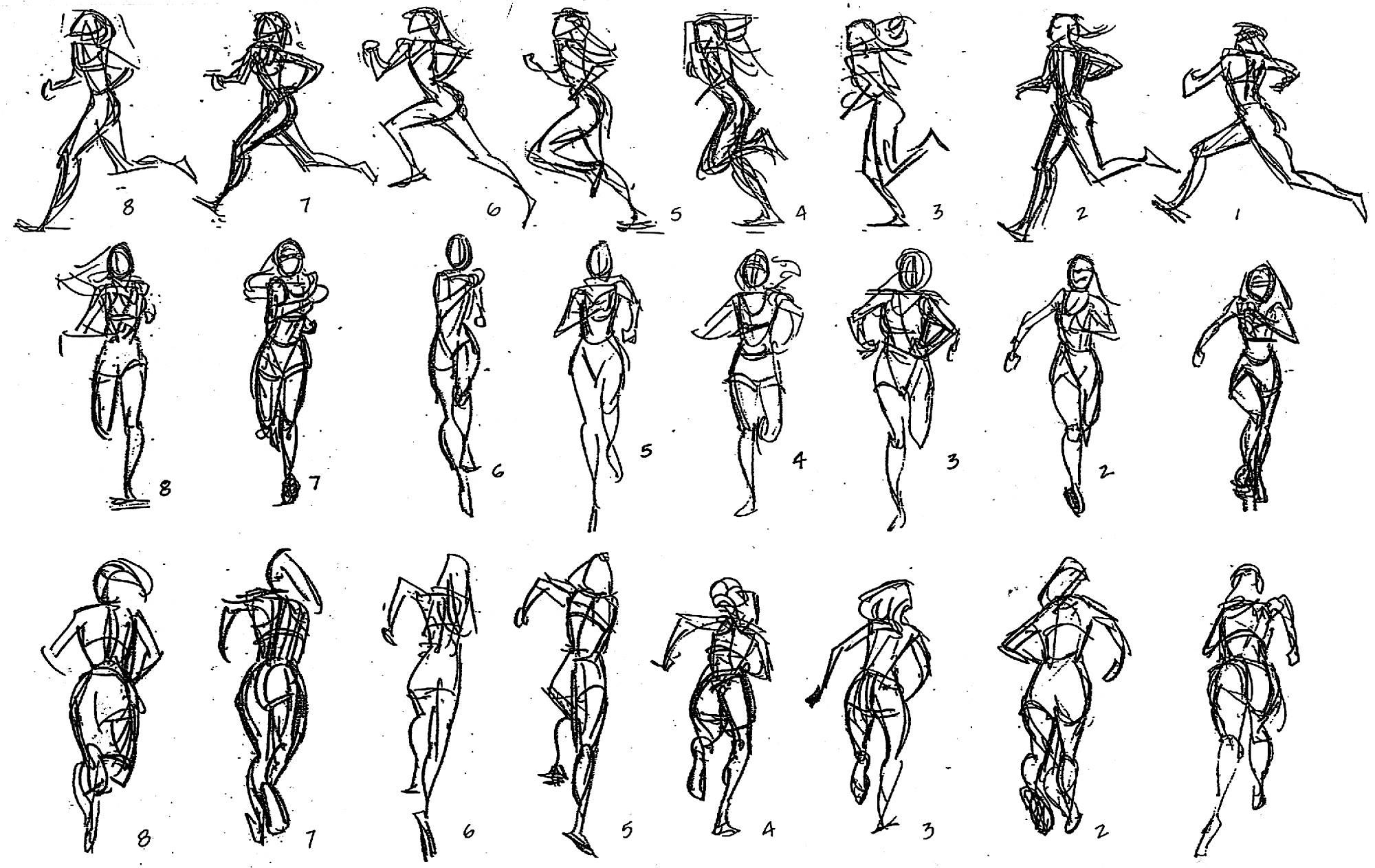 Anime Characters Running : Pocahontas s run in gestural studies posted on facebook