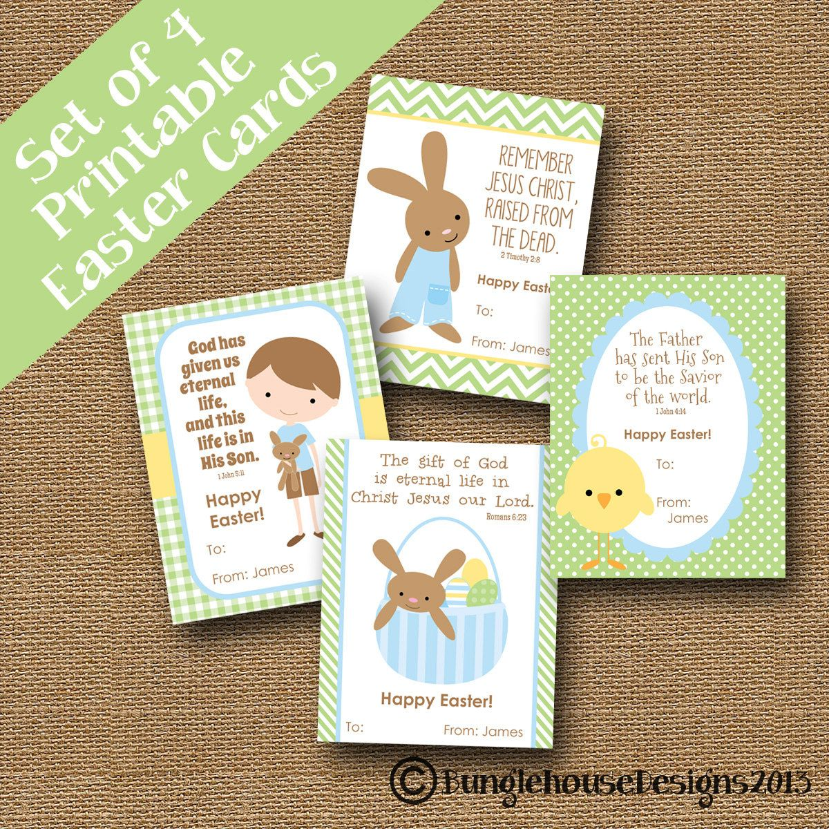 Childrens easter cards printable christian easter card kids childrens easter cards diy printable by bunglehousedesigns m4hsunfo Image collections