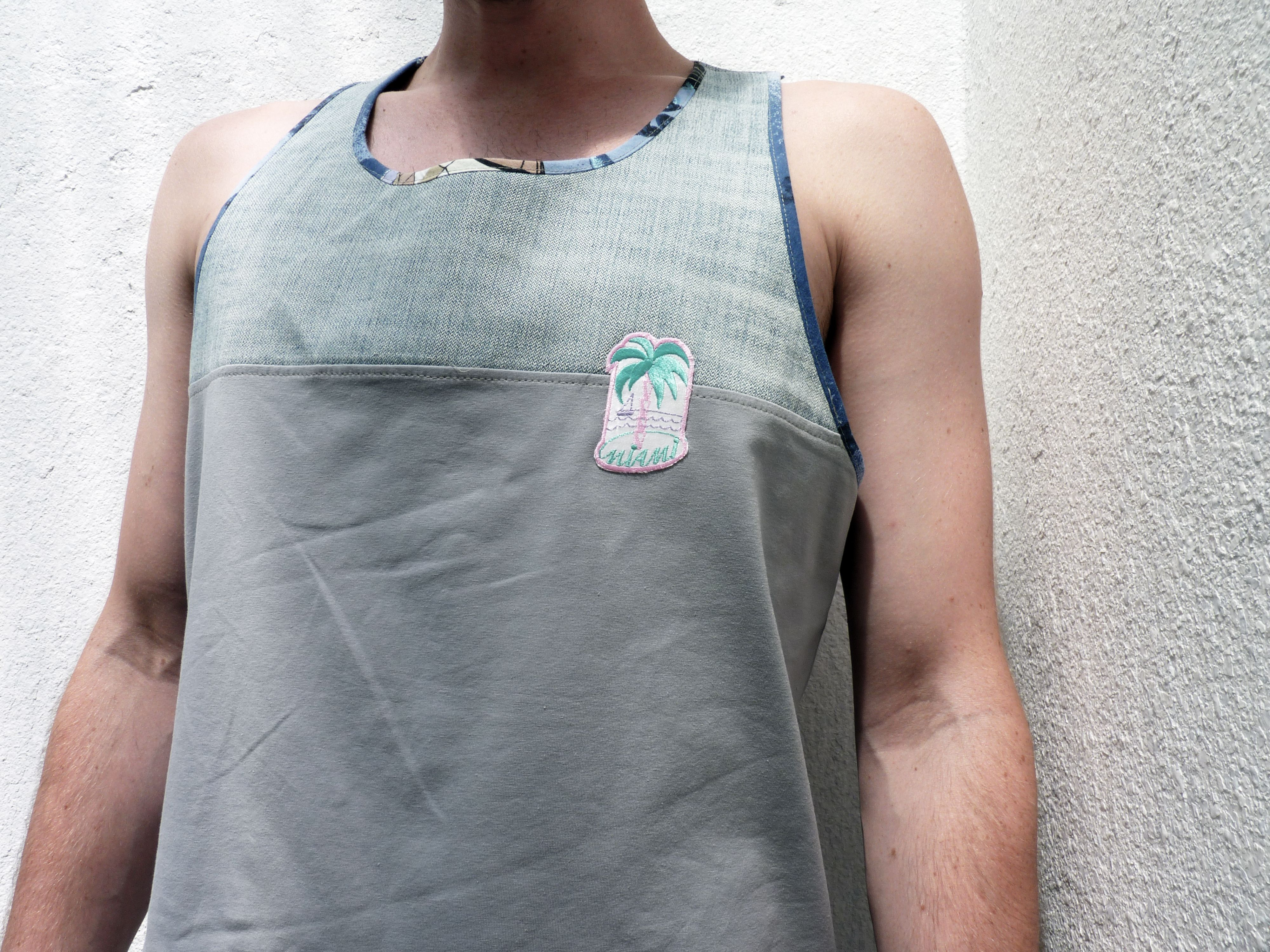 Tank made out of old jeans/ vintage hawaii shirt and jersey.   www.coldby.de