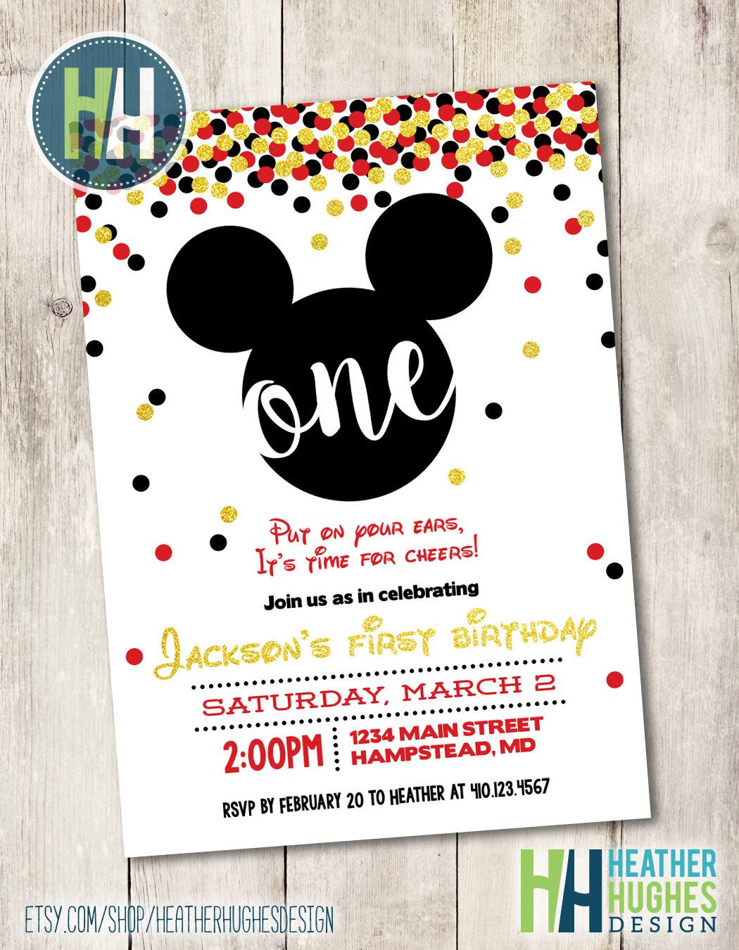 mickey mouse first birthday invite, boy 1st birthday gold glitter ...