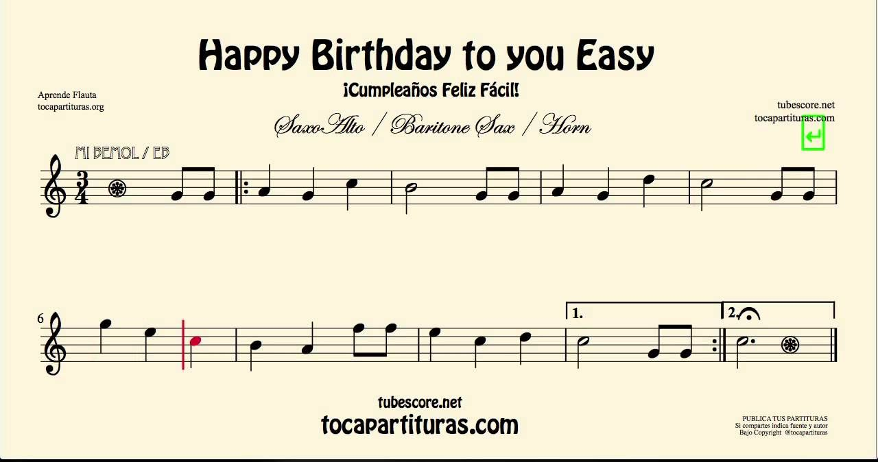 Easy Songs For Alto Sax Happy Birthday To You Easy Sheet Music