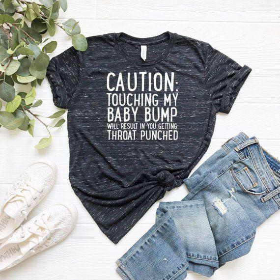edfb2561db2 CAUTION Maternity Shirt - Funny Maternity Tops - Funny Maternity Shirt - Pregnancy  Announcement Shi