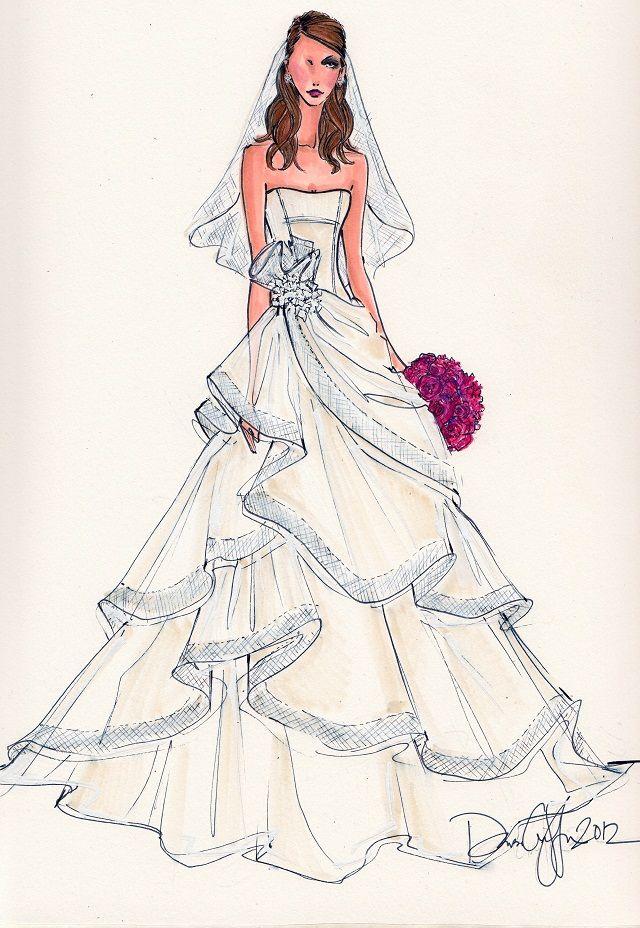 Bridal Gown Illustration Bridal Gown Design Wedding Dress Illustration Personalized Wedding Bridal Art Custom Wedding Dress Drawing