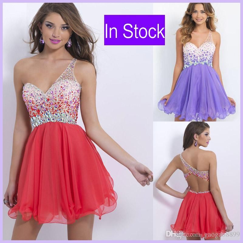 In Stock One Shoulder Homecoming Short Prom Dresses Watermelon Red Crystal Beads Lilac Sexy Cocktail Graduation Party Gowns 2015 Cheap Free Homecoming Dresses Good Homecoming Dress Stores From Gaogao8899, $62.83| Dhgate.Com