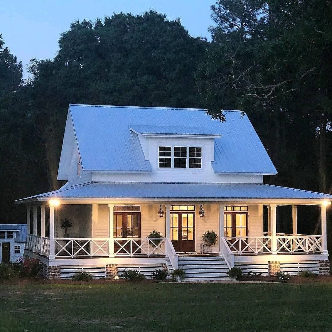 Farmhouse Is My Style On Instagram Gorgeous Classic White Farmhouse With A Wraparound Porch In 2020 Modern Farmhouse Exterior House Designs Exterior House Exterior