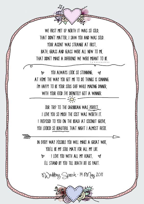 Illustrated Wedding Speech Poster A Bespoke Design From Emmydesignscouk